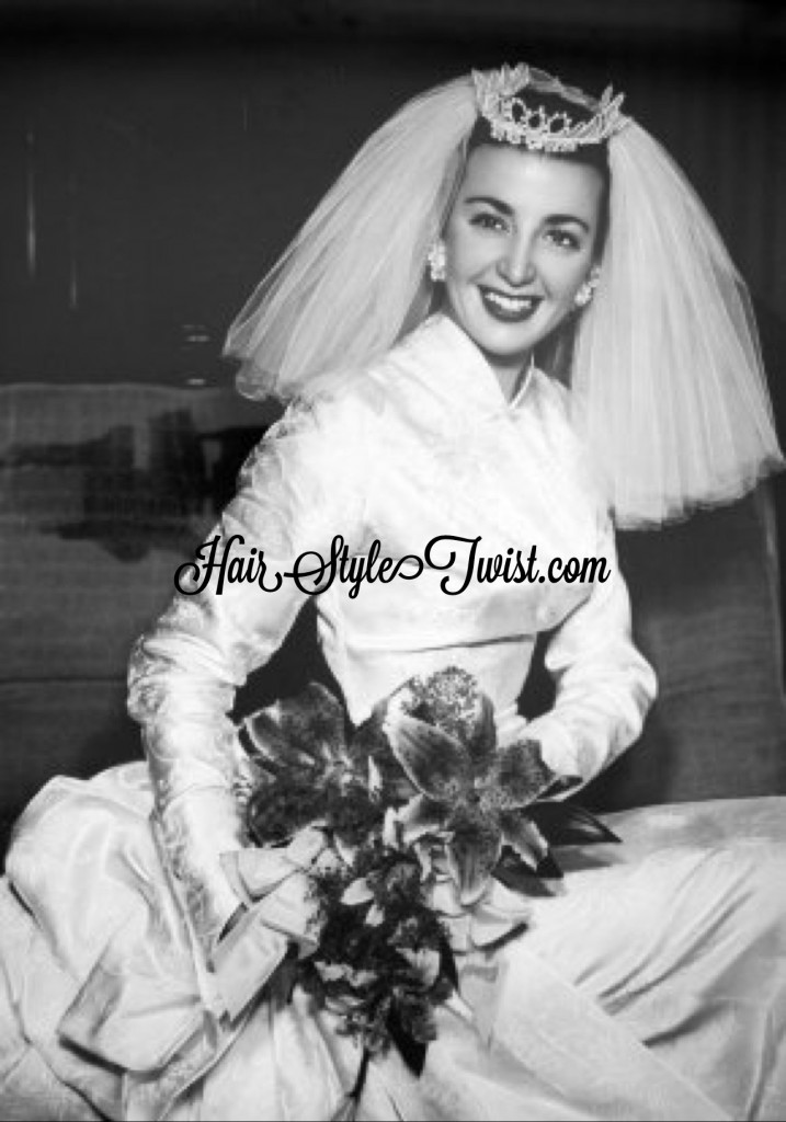 1950s bride with veil