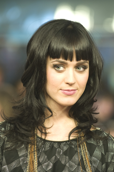Katy Perry With Straight Bangs And Long Curls