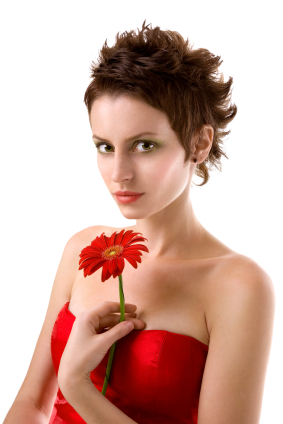 This Red Haired Lady Has Super Short Bangs That Are Cut In An Arch Shape To Follow The Borders Of Face Area Is Styled Straight And Smooth