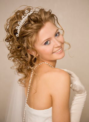 Image Of Wedding Hairstyles Half Up With Tiara