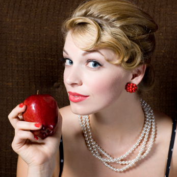 Nice large separated pin curls for bangs make this updo a 1950's ...