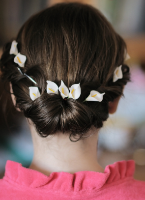 Updo with Flowers and Rolls
