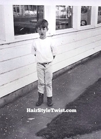 Little boy with dennis the menace haircut