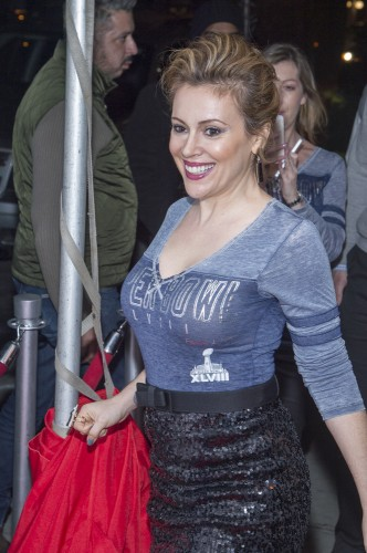 Alyssa Milano Super Bowl Kick Off Party Hairstyle