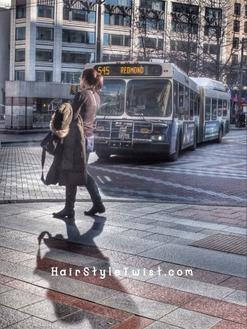 woman and bus