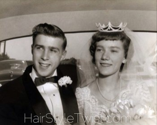 1950s bride and groom