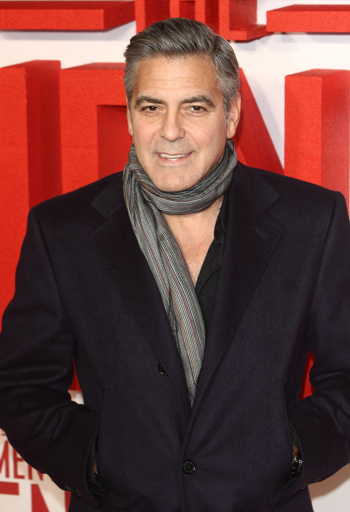 George Clooney With Short Hair And Scarf