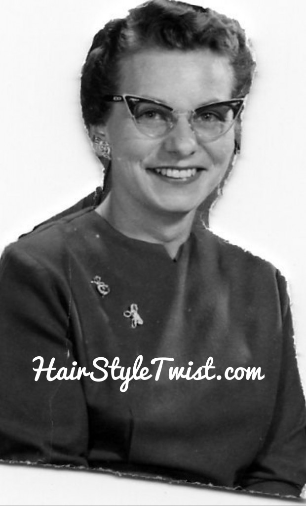 1950s hair and glasses